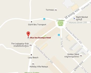 Blue Sea Boutique Hotel's map, Sihanouk ville